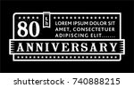 80th anniversary logo. vector...   Shutterstock .eps vector #740888215