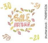 set autumn elements.  design... | Shutterstock .eps vector #740891026