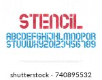 stencil alphabet letters and... | Shutterstock .eps vector #740895532