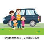 family car. a young family with ... | Shutterstock .eps vector #740898526