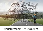 back view of engineer woman in... | Shutterstock . vector #740900425