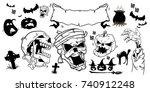 halloween set. black vector... | Shutterstock .eps vector #740912248