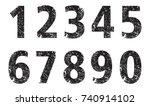 set of grunge numbers.vector... | Shutterstock .eps vector #740914102