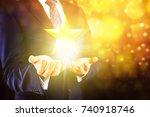 businessman holding excellence... | Shutterstock . vector #740918746