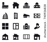 16 vector icon set   mansion ... | Shutterstock .eps vector #740926828