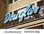 douglas clothing store sign in... | Shutterstock . vector #740929786