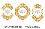 vector set with vintage frames  ... | Shutterstock .eps vector #740932582