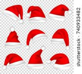 christmas santa claus hats set. ... | Shutterstock .eps vector #740933482