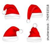 christmas santa claus hats set. ... | Shutterstock .eps vector #740933518