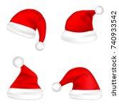 christmas santa claus hats set. ... | Shutterstock .eps vector #740933542