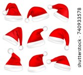 christmas santa claus hats set. ... | Shutterstock .eps vector #740933578