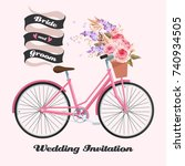 bicycle with roses | Shutterstock .eps vector #740934505