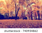 leaf fall in the park in autumn.... | Shutterstock . vector #740934862