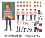 student  character constructor ... | Shutterstock .eps vector #740935762