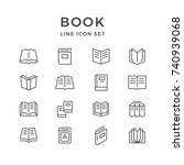 set line icons of book | Shutterstock .eps vector #740939068