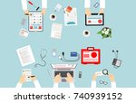 healthcare  hospital and... | Shutterstock . vector #740939152
