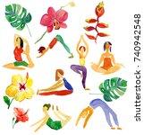 cute cartoon gymnastics for... | Shutterstock . vector #740942548