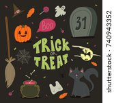 happy halloween background ... | Shutterstock .eps vector #740943352