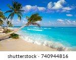 playa del carmen beach palm... | Shutterstock . vector #740944816