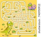 help dinosaur find path to nest.... | Shutterstock .eps vector #740950912