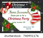 christmas invitation with holly ... | Shutterstock .eps vector #740951176