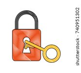 safety lock with key icon image | Shutterstock .eps vector #740951302