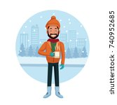 man with winter clothes | Shutterstock .eps vector #740952685