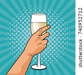 champagne toast pop art | Shutterstock .eps vector #740952712