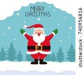 merry chrismtas card cartoon | Shutterstock .eps vector #740956816