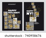 happy new year and xmas concept ... | Shutterstock .eps vector #740958676
