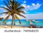 puerto morelos beach in mayan... | Shutterstock . vector #740968255