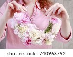 florist at work  how to make... | Shutterstock . vector #740968792
