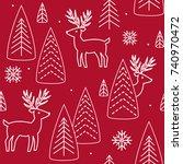 christmas reindeer seamless... | Shutterstock .eps vector #740970472