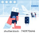 man with passport and boarding... | Shutterstock .eps vector #740970646