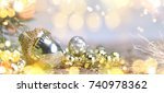 christmas and new year holiday... | Shutterstock . vector #740978362