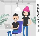 teamwork. office routine life....   Shutterstock .eps vector #740979262