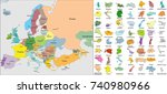 european political map.... | Shutterstock .eps vector #740980966