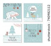 set of 4 cute christmas gift... | Shutterstock . vector #740982112
