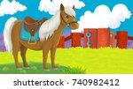 cartoon scene with happy horse...   Shutterstock . vector #740982412