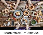 group of people dining concept. ...   Shutterstock . vector #740985955