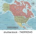 detailed north america... | Shutterstock .eps vector #740990545