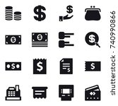 16 vector icon set   coin stack ... | Shutterstock .eps vector #740990866