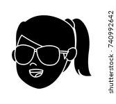 girl cartoon face | Shutterstock .eps vector #740992642