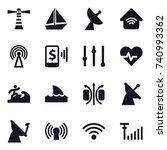 16 vector icon set   lighthouse ... | Shutterstock .eps vector #740993362
