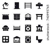 16 vector icon set   table lamp ...   Shutterstock .eps vector #740995765