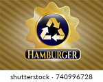 gold emblem with recycle icon... | Shutterstock .eps vector #740996728