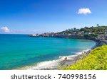 beautiful landscape of coverack ... | Shutterstock . vector #740998156