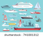 big set of sea boats and little ... | Shutterstock .eps vector #741001312