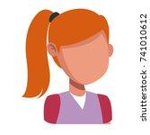 girl faceless cartoon | Shutterstock .eps vector #741010612