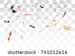 realistic falling bokeh black... | Shutterstock .eps vector #741012616